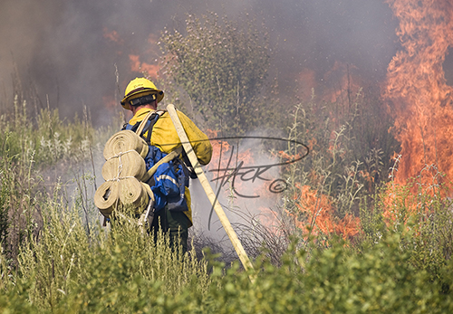 US Forest Service Firefighter attacking flames