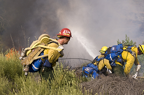 US Forest Service Firefighter working hard