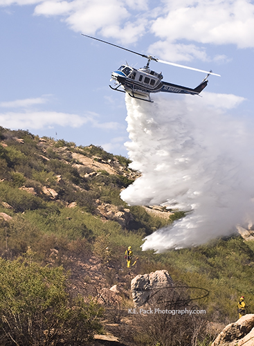 San Diego County Sheriff Copter dropping water on hotspot.