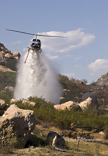 San Diego Sheriff Copter dropping water