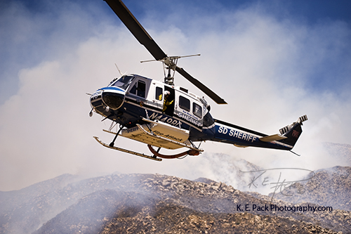San Diego Sheriff copter 10 arriving with helitac crew